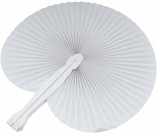 5.ZERO ® 60 pz Ventagli Bianchi Pieghevoli Plastica Carta Per Feste Eventi