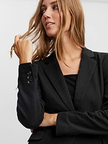 Vero Moda Vmjulia Ls Blazer Dnm Noos, Chaqueta de Traje para Mujer, 38, Negro (Black Black), 42