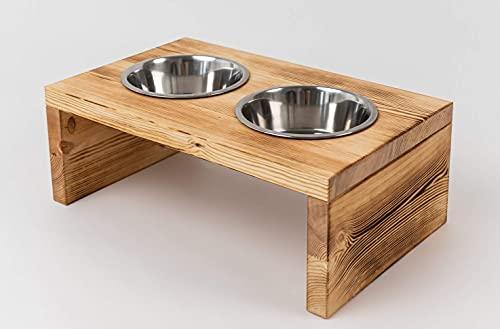 Woodworms Hunde-napf-Set mit Edelstahlnäpfen, Handgemachte Echtholz Hundebar, Futterbar für kleine, mittlere und große Hunde (XL)