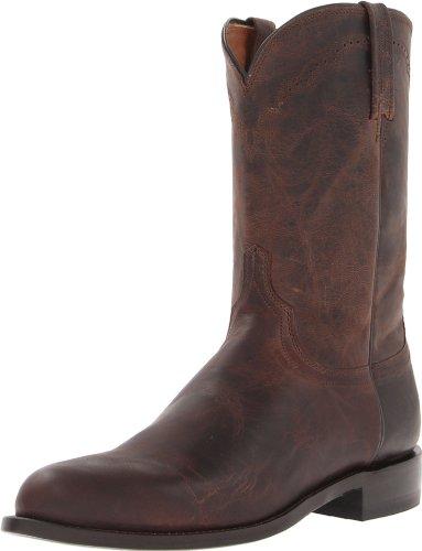 Lucchese Bootmaker Men's Shane-Chocolate Madras Goat Roper Riding Boot, 8.5 D US