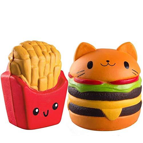 ZhengYue 2Pcs Langsam steigender Squeeze Squishy Toys -Hamburger, Fries Duft Kawaii Soft Food Squishy Toys, großes Geschenk für Kinder und Erwachsene