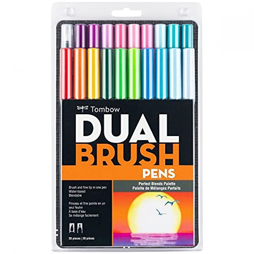 Tombow 56193 Dual Brush Pen Art Markers, Perfect Blends, 20-Pack. Blendable, Brush and Fine Tip Markers