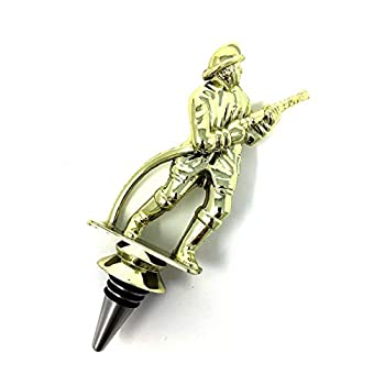 Fireman Wine Bottle Stopper - Handmade with Stainless Steel Base and Repurposed Trophy Top