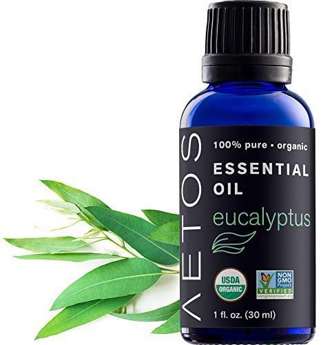 Aetos Organic Eucalyptus Oil, USDA Certified Organic Essential Oils, Non GMO, 100% Pure, Natural, Therapeutic Grade Essential Oil, Best Aromatherapy Scented-Oils for Home, Office, Personal Use – 1 Oz