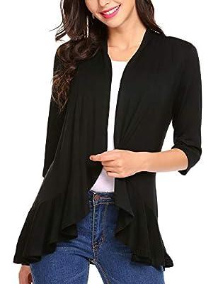 Zeagoo Women's Open Front 3/4 Sleeve Draped Ruffles Knit Cardigan X-Large Black by