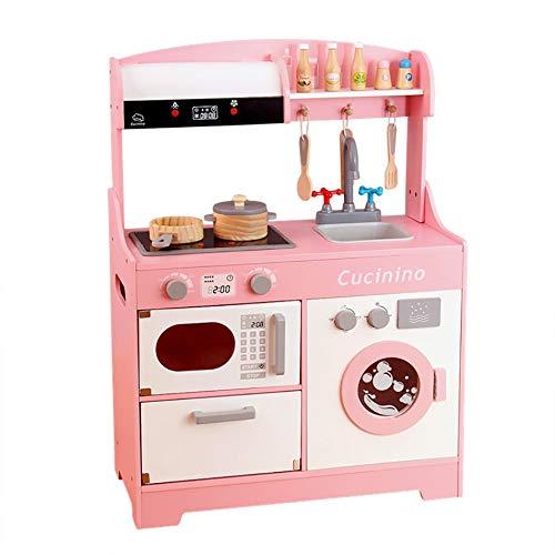 InChengGouFouX Frühkindliche Küche Spielzeug Spaß mit Freunden Küche Große Spielküche mit realistischen Licht & Sounds Kinder Küche Spielset & Küche Zubehör-Set (Color : Pink, Size : 85x62.5x26cm)