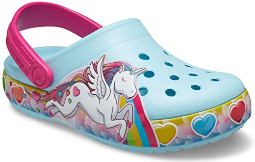crocs unisex child Kids' Fun Lab Light Up | Light Up Shoes for Kids Clog, Unicorn, 7 Toddler US
