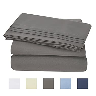 Oaskys Bed Sheet Set - Brushed Microfiber 1800 Bedding 4 Piece 105 GSM -Wrinkle, Fade, Stain Resistant,Hypoallergenic (Grey, Queen)