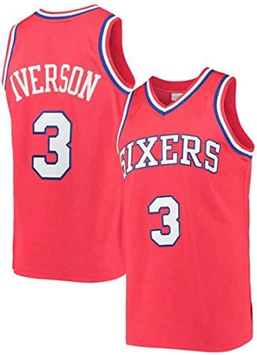Lajx Maillot de baloncesto para hombre al aire libre Iverson Sports de secado rápido de la competencia #3 Red Jersey