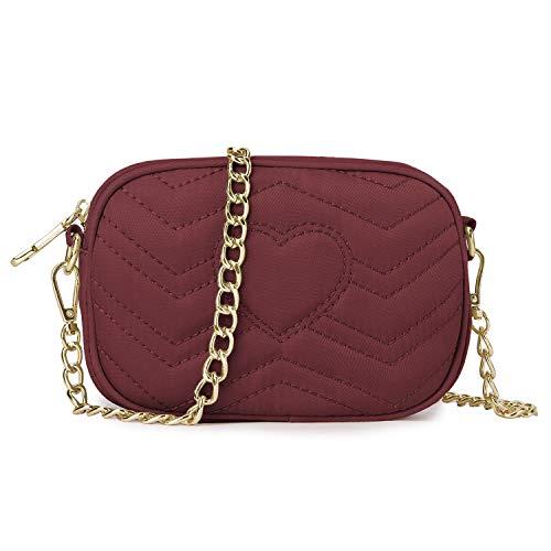 Wind Took Umhängetasche Damen Klein Sling Tasche Vintage Kette Bag Clutch Mini Citytasche für Hochzeit Party Disko, 11.5x17.5x5.5 cm Rot