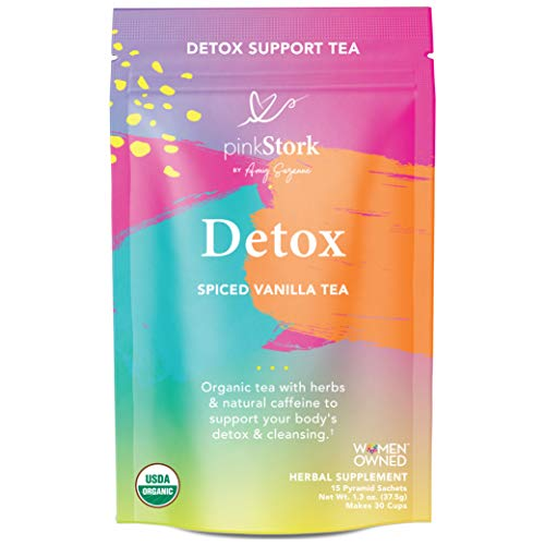 Pink Stork Detox Tea: Spicy Vanilla, USDA Organic, Supports Detoxification + Cleansing with Green Tea + Burdock, Women's Weight Loss Tea,...