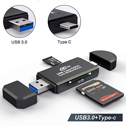 USB 3.0 SD Card Reader, COCOCKA USB Type C Memory Card Reader, OTG Adapter for SDXC, SDHC, SD, MMC, TF, RS- MMC, Micro SDXC, Micro SD, Micro SDHC Card and UHS-I Cards