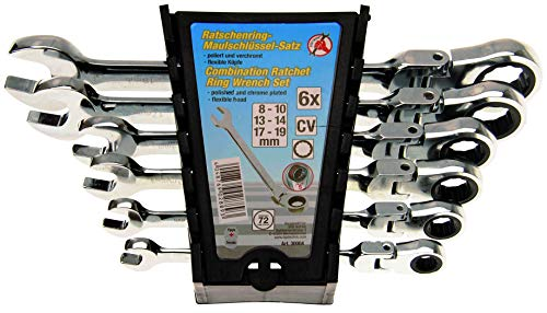 Kraftmann 30004 | Jeu de clés mixtes à cliquet | têtes flexibles | 8 - 19 mm | 6 pièces