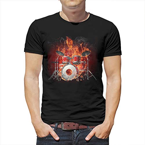 Heren T-shirt Magisch vuur skelet drums spelen kunstwerk druk grafisch mode shirts blouse mooi vlammende schedel rookmuziek fantasie casual zomer top thees