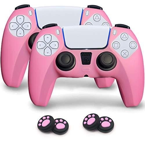 Sofunii Juego de 2 fundas protectoras de silicona para controlador Playstation 5/PS5 con 4 piezas de agarre para pulgar con huellas de huellas dactilares (rosa)