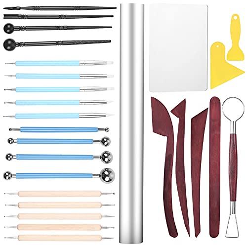 27 Pcs Herramientas arcilla, Liesun Set de Herramientas de Esculpir Arcilla y modelar cerámica, herramientas de arcilla, herramientas arcilla polimerica, para Modelado de Arcilla,Tallado de madera