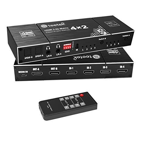 4X2 HDMI Matrix Switch, 4K @ 60 Hz, RGB 8: 8: 8, SPDIF 5.1H, Audio EDID Extraktor, 3,5-mm-Stereo-Audio-HDMI 2.0 HDCP 2.2 3D-Video-Splitter mit IR-Fernbedienung