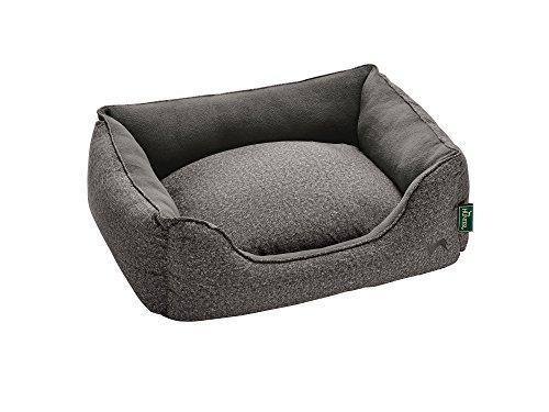 HUNTER BOSTON COZY Hundesofa, Hundebett, Wendekissen, kuschelig, weich, mit Plüsch, L, grau