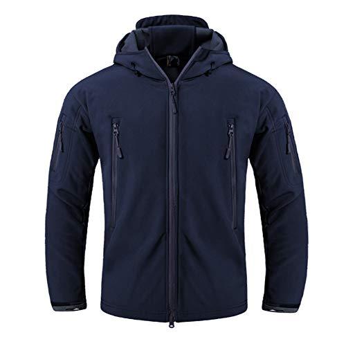 FEDTOSING Herren Übergangsjacke Wasserdicht Funktionsjacke Softshell Outdoor Mantel Winddicht Kapuze(Blue EU XS)