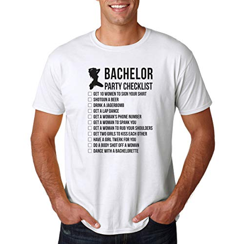 AW Fashions Bachelor Party Checklist - I'm Tying The Knot - Groom to Do List Before Getting Married - Men's Tshirt (White, Large)
