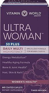 Vitamin World Ultra Woman 50 Plus Daily Multivitamin | Feat. Biotin, Vitamins B, C, D, E, Calcium, Zinc, Se...