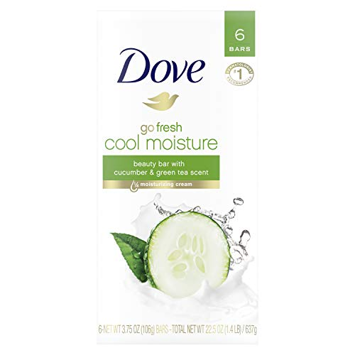 Dove go fresh Beauty Bar for Softer Skin Cucumber and Green Tea More Moisturizing than Bar Soap 3.75 oz 6 Bars