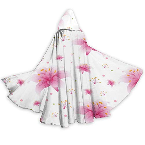 WTWT Decoraciones de halloweenSeamless Pink Lily Flowers Halloween Cloak Fancy Hooded Cape with Drawstring Adult Cool Witch Robe Extra Long Party Cape
