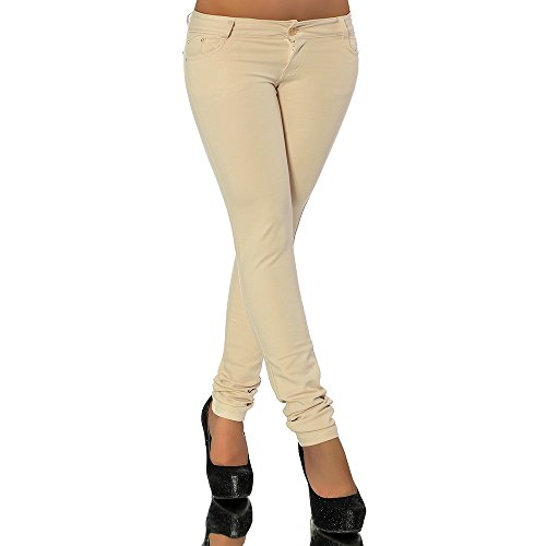 G701 Damen Jeans Look Hose Röhre Leggings Leggins Treggings Skinny Jeggings, Größen:36 (S), Farben:Beige