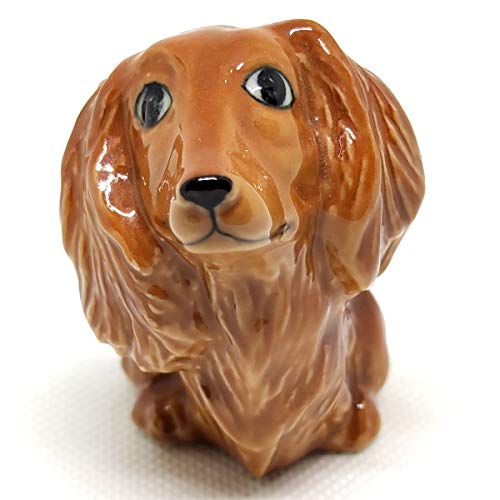 SSJSHOP Dachshund Long Hair Dollhouse Small Figurines Hand Painted Ceramic Animals Dog Lover Collectible Gift Home Garden Decor, Brown