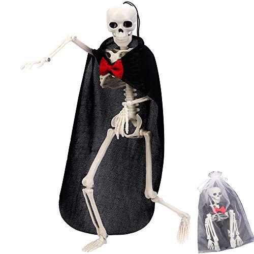 CGBOOM Halloween Deko Skelett 40 cm, Deko-Figur Horror Skelett Modell Ganzkörper Hängendes oder Sitzende Skeleton mit Hängendem Seil für Halloween, Karneval und Themen Partys