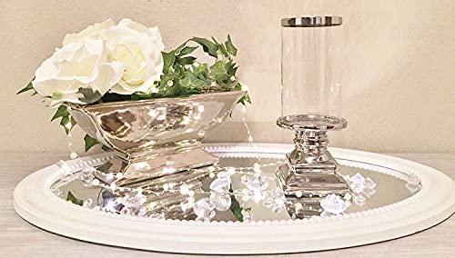23 cm Glas Windlicht Kerzenhalter Kerzenleuchter Keramik Fuß in Silber Landhaus