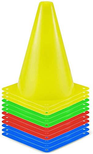 12 Stück Markierkegel Fußball Markierungskegel Trainingshilfen Multifunktionskegel 4 Farben für Kinder, Fußball, Sport, Reitsport & Hund Training (18cm)