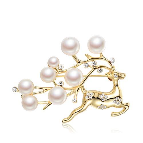 ANAZOZ 18K Gold Brosche Damen Zirkonia Perle Rentier Broschen für Frauen mit 5-9mm Perle Geschenk für Mutter Freundin Frauen
