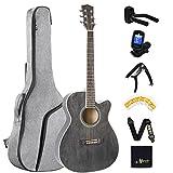 Winzz Guitarra Folk para Niños 36 Pulgadas, Tamaño 3/4 Guitarra Acústica Negro Kit para Principiantes