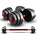 Juego de mancuernas de 30 kg con barra de conexión, juego de mancuernas con mancuernas, juego de mancuernas ajustables, juego de entrenamiento de levantamiento ajustable para hombres y mujeres