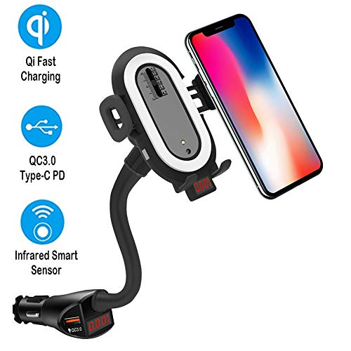 Wireless Charger Auto Handyhalterung Zigarettenanzünder Auto, Auto Ladegerät PD QC3.0 für Nintendo Switch, Qi Kabelloses Auto Ladegerät Induktion Ladestation für iPhone 11 XR X 8 Galaxy S10 S9 Note 8