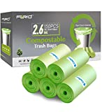 Small Trash Bags - FORID 2.6 Gallon Compostable Garbage Bags 150 Count Mini Strong Trash Can Liners 10 Liter Unscented Wastebasket Bags for Kitchen Bathroom Home Office (5Rolls/Green)…