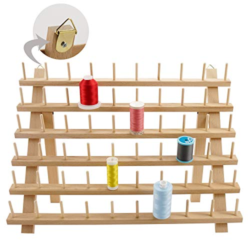 New brothread 60 Spools Wooden Thread Rack/Thread Holder Organizer with Hanging Hooks for Sewing, Quilting, Embroidery, Hair-braiding