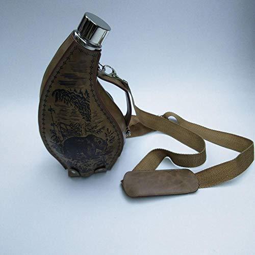 Piner Dikke roestvrijstalen draagbare hoornfles 53oz spiegel lichte hoornpot grote capaciteit wijnpot met lederen etui buiten Flagon, chocolade