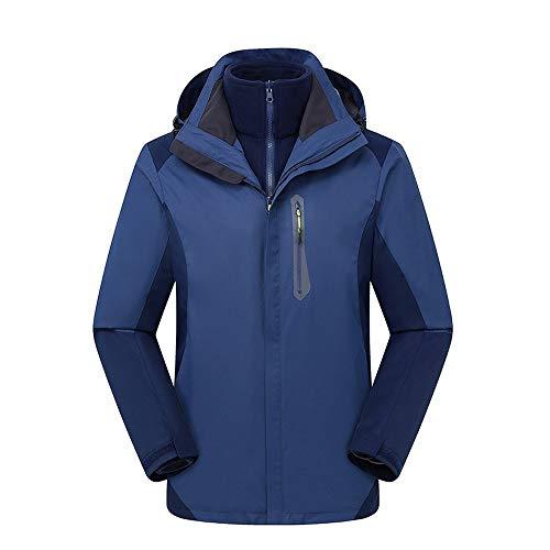 LZXMXR Bergsteiger-Bekleidung für Damen und Herren, drei-in-eins, zweiteilige Jacke, abnehmbar, winddicht, wasserdicht, Skianzug (Farbe: D, Größe: XXXL)
