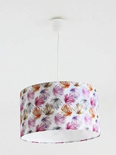 Lustre suspension plafonnier abat-jour feuilles exotiques multicolores - tropical - palmier Luminaire diamètre personnalisé cylindre rond idée cadeau anniversaire décoration tendance