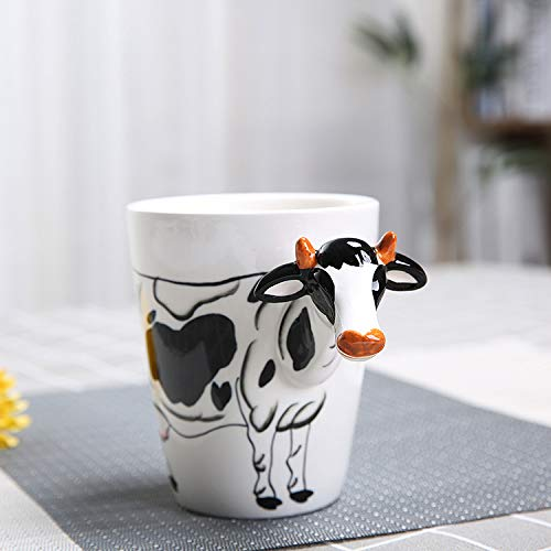BOOMZZ Taza De Animales Estéreo 3D Cerámica De Animales Pintados Vaso De Leche Resistencia A Altas Temperaturas 10.8 CM * 8.8 CM Vaca