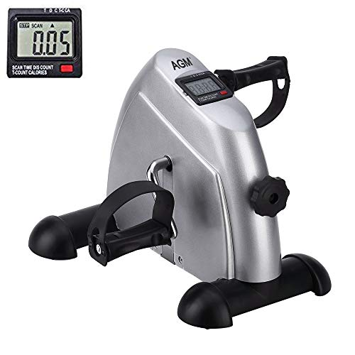 Mini Exercise Bike Pedal Exerciser Portable Cycle Arm and Leg Exerciser with LCD Display (Silver)