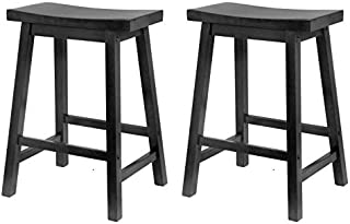 Winsome Wood 24-Inch Saddle Seat Counter Stool, Black (Pack of 2)