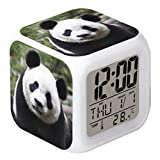 Cointone LED Alarm Clock Panda Pattern Creative Desk Table Clock Glowing Electronic Colorful Digital Clock for Unisex Adults Girl Boy Kids Children Toy Birthday Present Gift