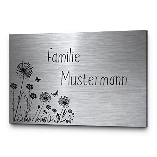 CHRISCK design - Edelstahl Türschild mit Gravur   Namensschilder mit Namen Briefkastenschild selbstklebend o. mit Bohrlöcher in vielen Größen ab 8x5 cm eckig mehr als 30 Motive   Klingelschild - Türschilder für die Haustür mit Namen
