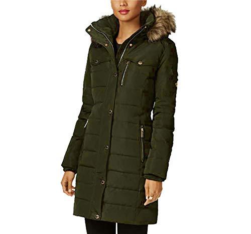 Michael Kors Women's Down Coat with Zip Out Fur Hood-Dark Moss-L