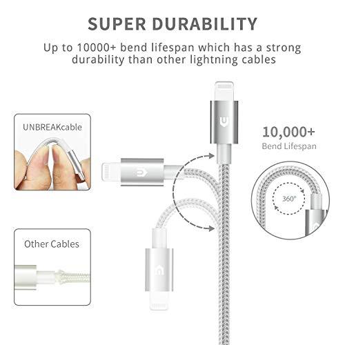 UNBREAKcable iPhone Ladekabel, Lightning Kabel - 2M [MFi-Zertifiziert] - mit Apples originalem C89-Terminal und Smart-Chip Datenkabel kompatibel mit iPhone, iPad Air, Airpods - Silber-Grau