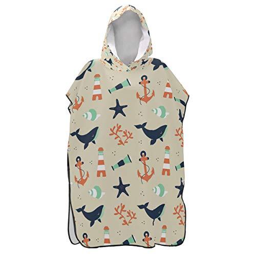 LORONA Leuke zeeman patroon met walvis en elementen strand veranderen handdoek sneldrogende strand jas veranderen mannen en vrouwen snorkelen capuchon kleding Cover