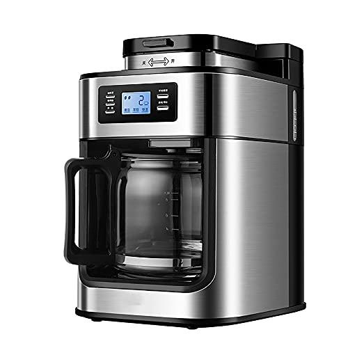 LHK Cafetera programable de Goteo, máquina de café compacta con Jarra de Vidrio, Compatible con vainas o terrenos, Olla de un Solo Servicio y 10 Tazas, manténgase cálido, Plata